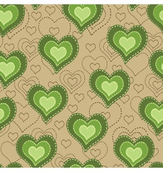 Seamless pattern with green hearts vector