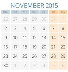 Calendar 2015 november design template vector