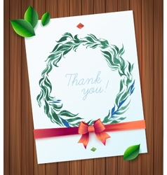 Thank you watercolor floral wreath vector