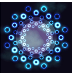 Dark futuristic round frame with blue neon rings vector