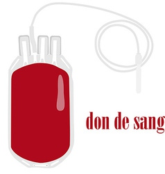 Blood bag on white background with text blood vector