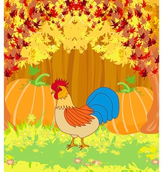 Rooster on wooden background with leaves vector
