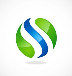S round wave logo vector
