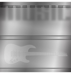 Musical background with engraved guitar vector