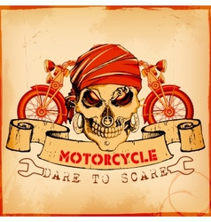Skull on vintage motorcycle background vector