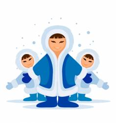 Smiling eskimo people group vector