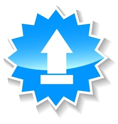 Upload blue icon vector