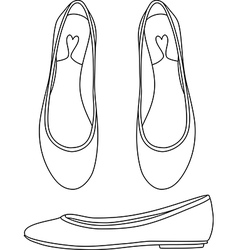 Outlined flat shoes vector