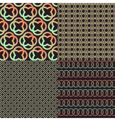 Set of four brown abstract retro color patterns vector