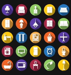 Furniture and lighting icons vector
