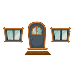 Isolated windows and a door vector