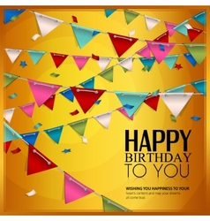 Birthday card with confetti and bunting flags vector