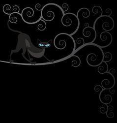 Black cat on spiral tree vector