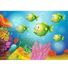 A group of green piranhas under the sea vector