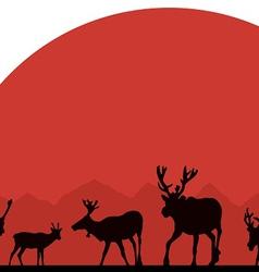 Alaska deer against the sun vector
