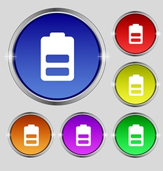 Battery half level low electricity icon sign round vector