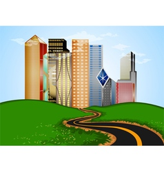 Road into city vector