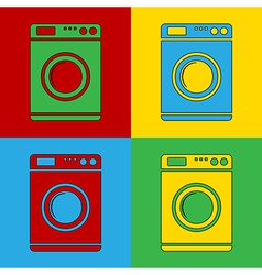 Pop art washing machine icons vector