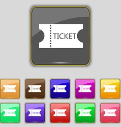 Ticket icon sign set with eleven colored buttons vector