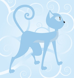 Blue cat on spiral background vector