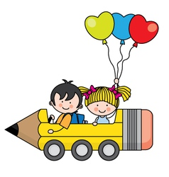 Kids riding a pencil car vector