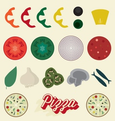 Pizza toppings collection vector