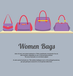 Women handbags display on shelf vector