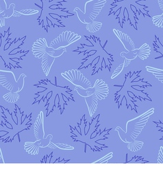 Seamless pattern with pigeons and leaves vector