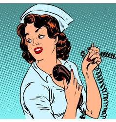 Nurse hospital phone health medical surgery style vector