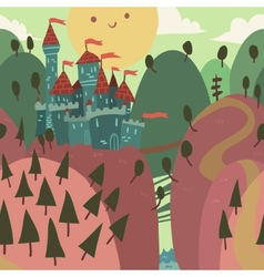 Cartoon castle on a hill vector