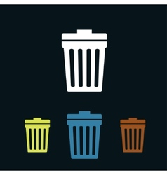 Trash can flat icons vector