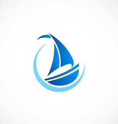 Sailing boat yacht abstract logo vector