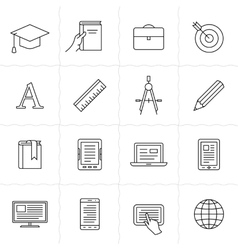 Remote education icons vector