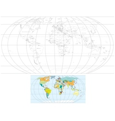 Contour world map vector
