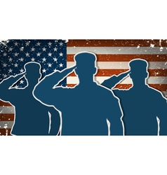 Three us army soldiers saluting on grunge american vector