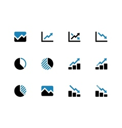 Line chart and diagram duotone icons vector