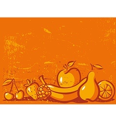 Orange vintage background with fruit vector