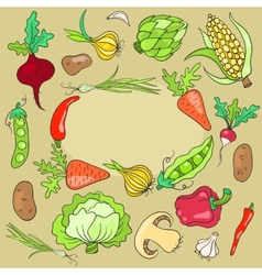 Card with vegetables vector