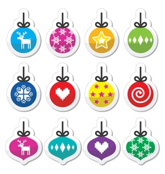 Christmas ball christmas bauble colorful labels s vector