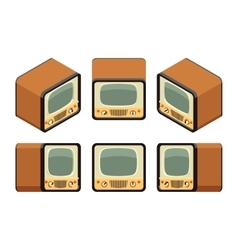 Isometric retro tv sets vector
