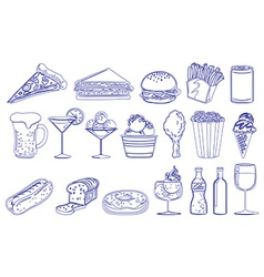 Drinks and edible foods vector