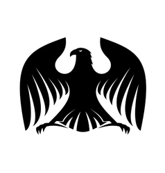 Stylized powerful black eagle silhouette vector