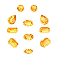 Amber topaz set isolated objects vector