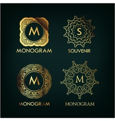 Set of luxury simple and elegant monogram vector
