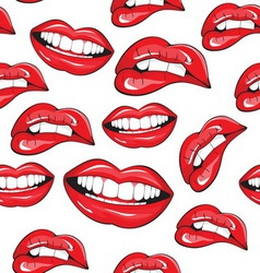 Red lips pattern vector