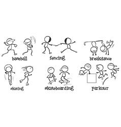 Different indoor and outdoor activities vector