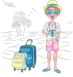 Hipster traveler guy with suitcases on the sea bea vector