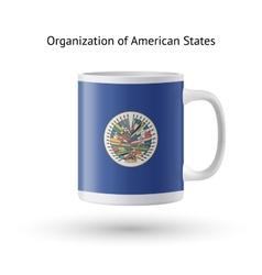 Organization of american states flag souvenir mug vector