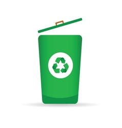 Sign for recycling on a green trash can vector