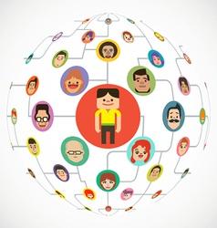 Social media globe network vector